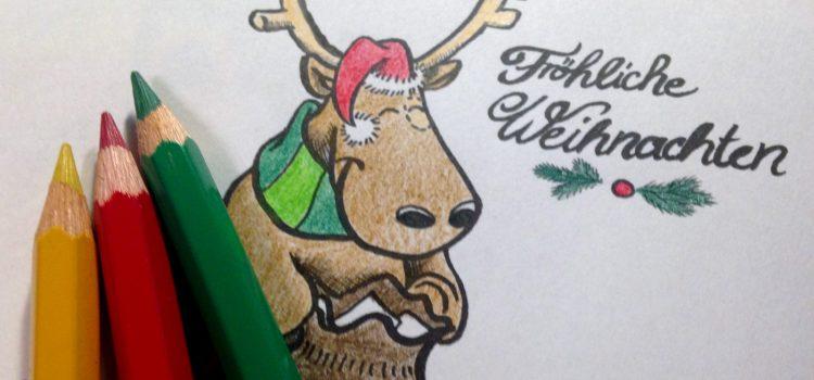 FREEBIE: Weihnachtskarte zum Ausmalen